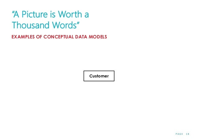 """P A G E 1 8 Customer """"A Picture is Worth a Thousand Words"""" EXAMPLES OF CONCEPTUAL DATA MODELS"""