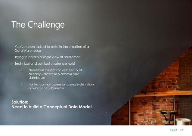 P A G E 3 7 The Challenge › You've been tasked to assist in the creation of a Data Warehouse › Trying to obtain a single v...