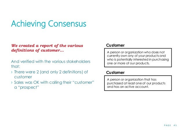 P A G E 4 5 Achieving Consensus We created a report of the various definitions of customer… And verified with the various ...