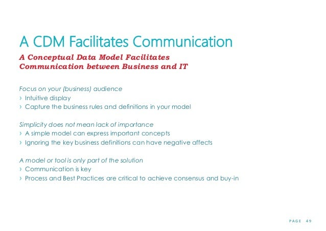 P A G E 4 9 A CDM Facilitates Communication Focus on your (business) audience › Intuitive display › Capture the business r...