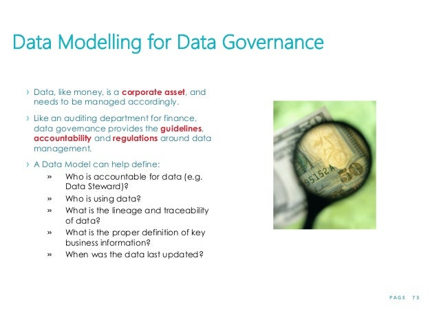P A G E 7 3 Data Modelling for Data Governance › Data, like money, is a corporate asset, and needs to be managed according...
