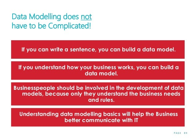 P A G E 8 9 Data Modelling does not have to be Complicated! If you can write a sentence, you can build a data model. If yo...