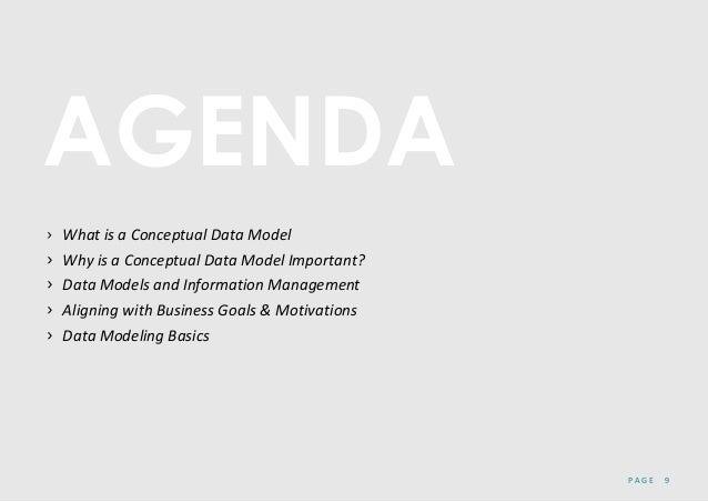 P A G E 9 AGENDA › What is a Conceptual Data Model › Why is a Conceptual Data Model Important? › Data Models and Informati...