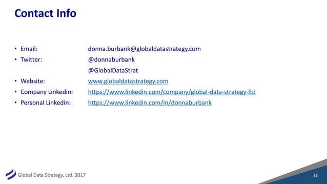 GlobalDataStrategy,Ltd.2017 ContactInfo • Email: donna.burbank@globaldatastrategy.com • Twitter: @donnaburbank @Glob...