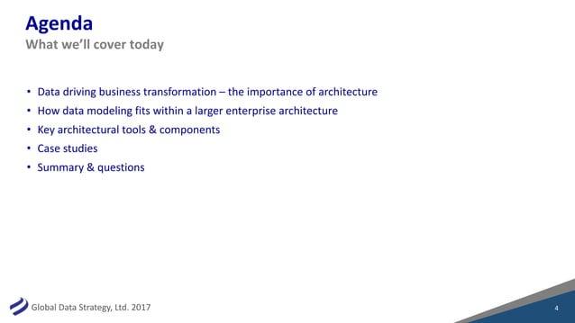 GlobalDataStrategy,Ltd.2017 Agenda • Datadrivingbusinesstransformation– theimportanceofarchitecture • Howdata...