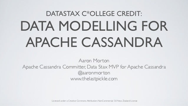 DATASTAX C*OLLEGE CREDIT:DATA MODELLING FOR APACHE CASSANDRA                      Aaron MortonApache Cassandra Committer, ...