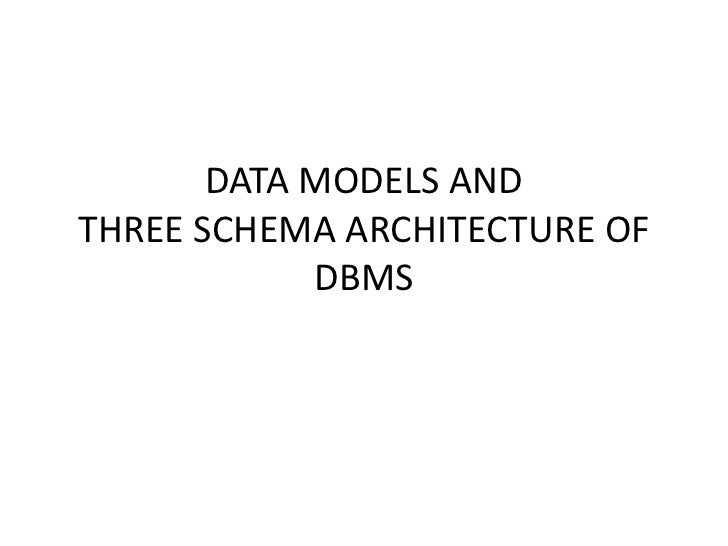 DATA MODELS ANDTHREE SCHEMA ARCHITECTURE OF            DBMS