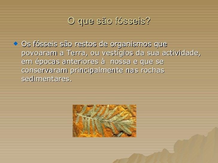 O que são fósseis? <ul><li>Os fósseis são restos de organismos que povoaram a Terra, ou vestígios da sua actividade, em ép...