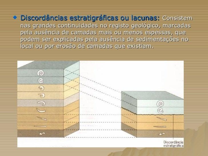 <ul><li>Discordâncias estratigráficas ou lacunas:  Consistem nas grandes continuidades no registo geológico, marcadas pela...