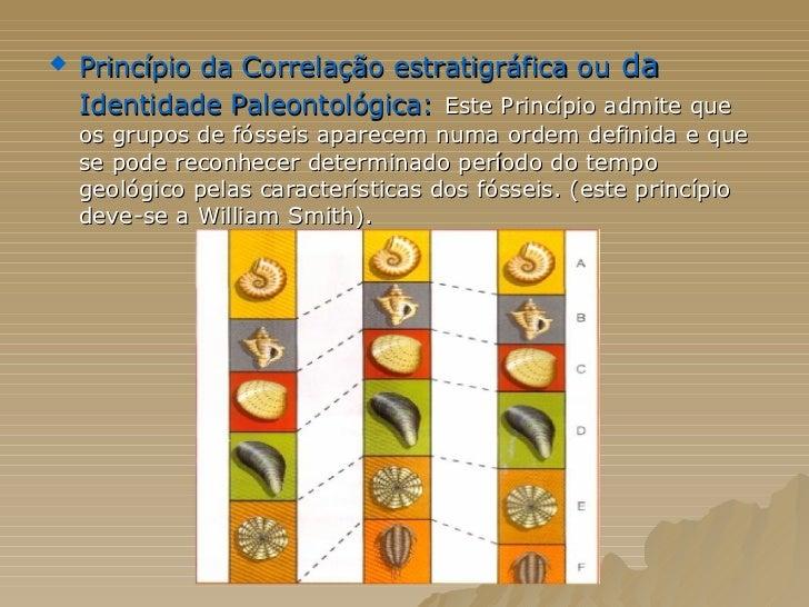 <ul><li>Princípio da Correlação estratigráfica ou  da  Identidade Paleontológica:   Este Princípio admite que os grupos de...