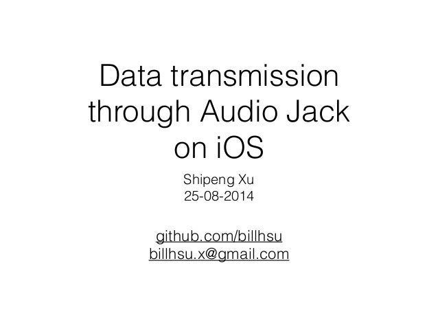 Data transmission through Audio Jack on iOS