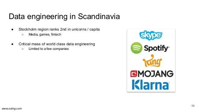www.scling.com Data engineering in Scandinavia ● Stockholm region ranks 2nd in unicorns / capita ○ Media, games, fintech ●...