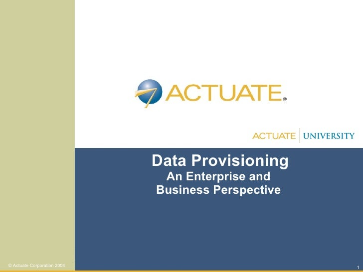 Data Provisioning An Enterprise and  Business Perspective