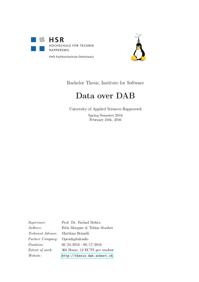 Bachelor Thesis, Institute for Software Data over DAB University of Applied Sciences Rapperswil Spring Semester 2016 Febru...