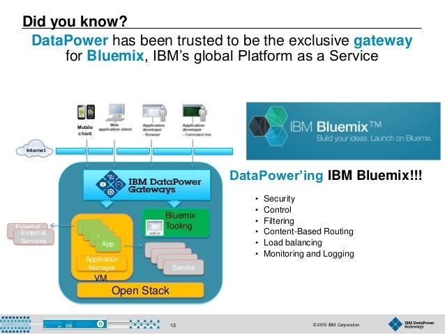 © 2015 IBM Corporation13 DataPower'ing IBM Bluemix!!! • Security • Control • Filtering • Content-Based Routing • Load bala...