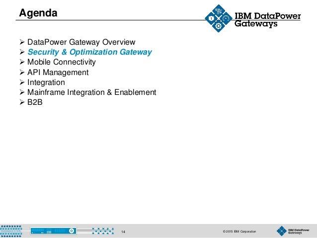 © 2015 IBM Corporation14 Agenda  DataPower Gateway Overview  Security & Optimization Gateway  Mobile Connectivity  API...