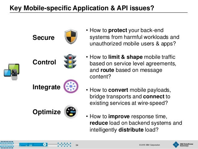 © 2015 IBM Corporation34 • How to protect your back-end systems from harmful workloads and unauthorized mobile users & app...