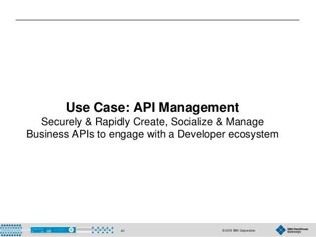 © 2015 IBM Corporation41 Use Case: API Management Securely & Rapidly Create, Socialize & Manage Business APIs to engage wi...