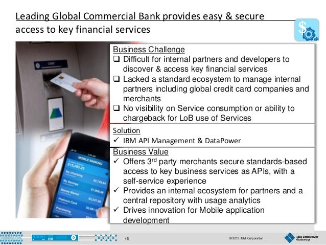 © 2015 IBM Corporation45 Business Challenge  Difficult for internal partners and developers to discover & access key fina...