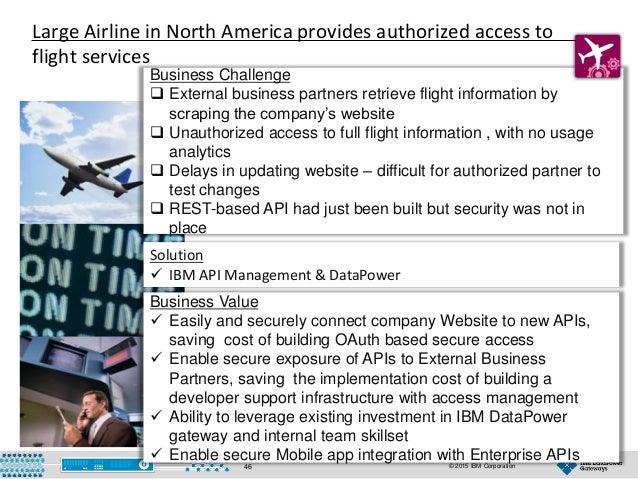 © 2015 IBM Corporation46 Business Challenge Business Challenge  External business partners retrieve flight information by...