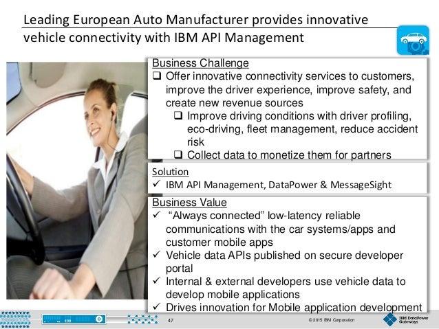 © 2015 IBM Corporation47 Leading European Auto Manufacturer provides innovative vehicle connectivity with IBM API Manageme...