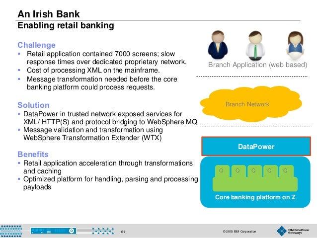 © 2015 IBM Corporation61 Core banking platform on Z An Irish Bank Enabling retail banking Solution  DataPower in trusted ...