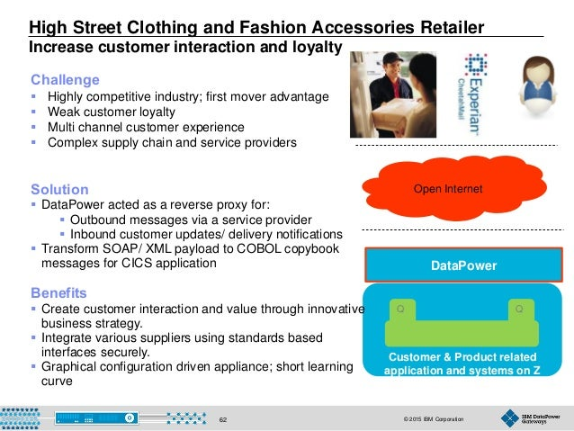 © 2015 IBM Corporation62 Customer & Product related application and systems on Z High Street Clothing and Fashion Accessor...