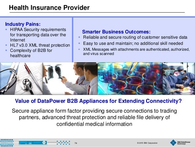 © 2015 IBM Corporation74 Health Insurance Provider Smarter Business Outcomes:  Reliable and secure routing of customer se...