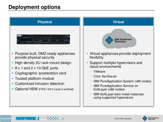 © 2015 IBM Corporation8 Deployment options  Purpose-built, DMZ-ready appliances provide physical security  High density ...