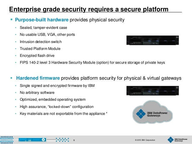 © 2015 IBM Corporation9  Purpose-built hardware provides physical security • Sealed, tamper-evident case • No usable USB,...