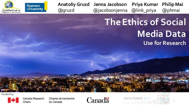 TheEthics of Social Media Data Use for Research Anatoliy Gruzd Jenna Jacobson Priya Kumar Philip Mai @gruzd @jacobsonjenna...