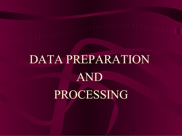 1 DATA PREPARATION AND PROCESSING