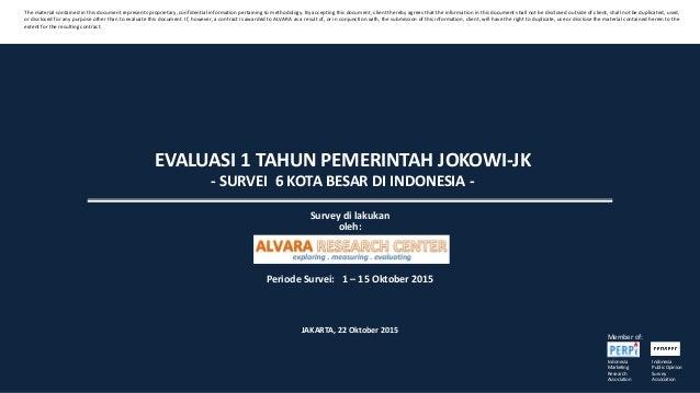 EVALUASI 1 TAHUN PEMERINTAH JOKOWI-JK - SURVEI 6 KOTA BESAR DI INDONESIA - Survey di lakukan oleh: Periode Survei: 1 – 15 ...