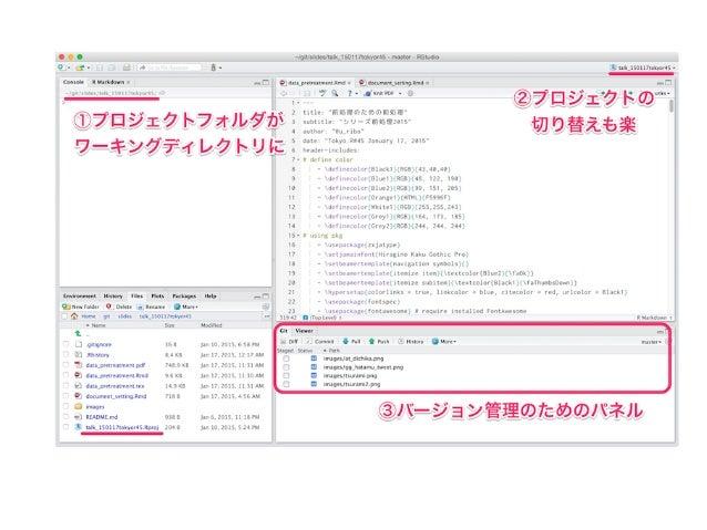 ".Rmd: R + Markdown + LATEX = POWERFUL  このスライドも.Rmd で書いている lab.noteパッケージでどうぞ 1 rmarkdown::draft(""MyReport.Rmd"",template=""..."