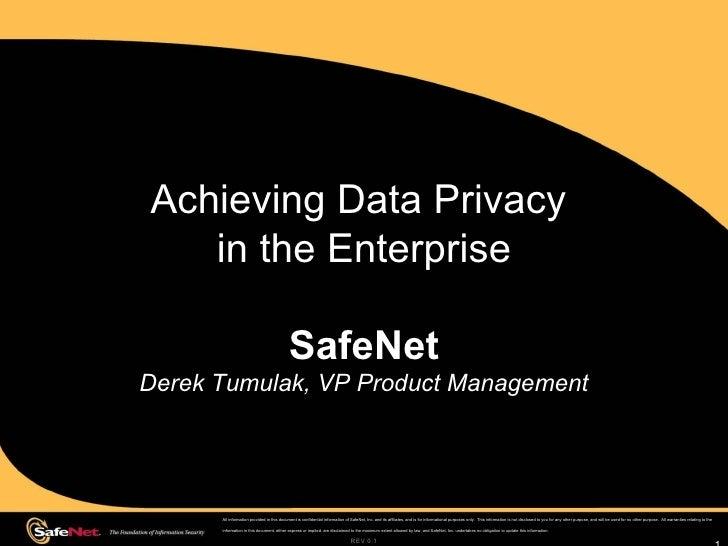 Achieving Data Privacy  in the Enterprise SafeNet Derek Tumulak, VP Product Management REV 0.1