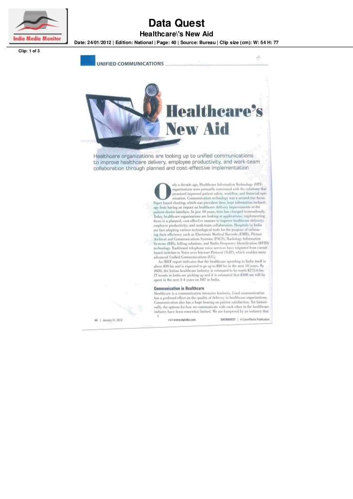 Data Quest                                            Healthcares New Aid               Date: 24/01/2012 | Edition: Nation...
