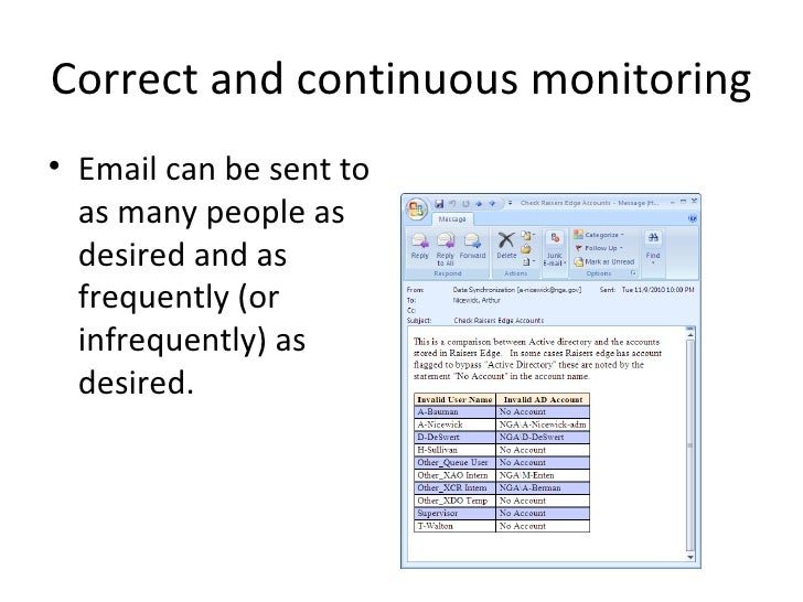 Correct and continuous monitoring• Email can be sent to  as many people as  desired and as  frequently (or  infrequently) ...