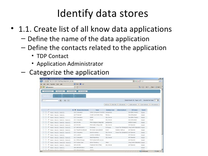 Identify data stores• 1.1. Create list of all know data applications   – Define the name of the data application   – Defin...