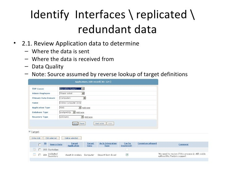 Identify Interfaces  replicated                  redundant data• 2.1. Review Application data to determine   –   Where the...