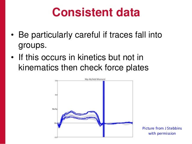 Consistent data • Be particularly careful if traces fall into groups. • If this occurs in kinetics but not in kinematics t...