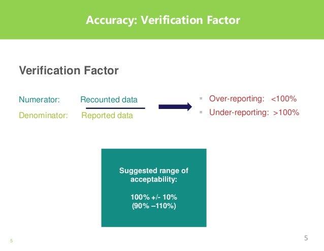 5 Accuracy: Verification Factor Verification Factor Numerator: Recounted data Denominator: Reported data  Over-reporting:...