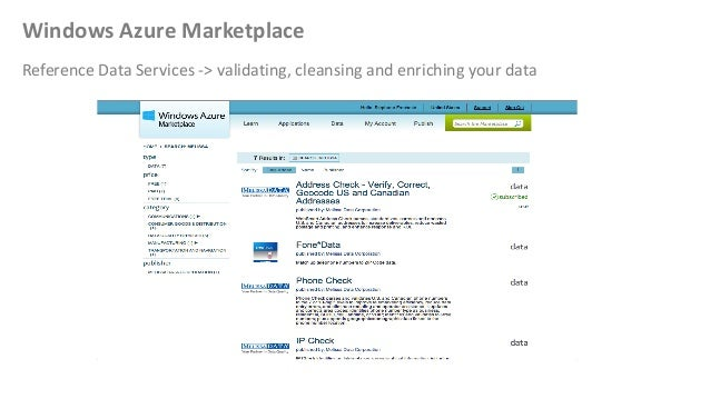 Windows Azure MarketplaceReference Data Services -> validating, cleansing and enriching your data
