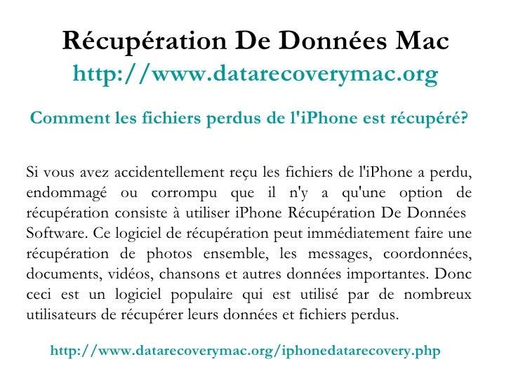 Récupération De Données Mac http://www.datarecoverymac.org Comment les fichiers perdus de l'iPhone est récupéré? Si vous a...