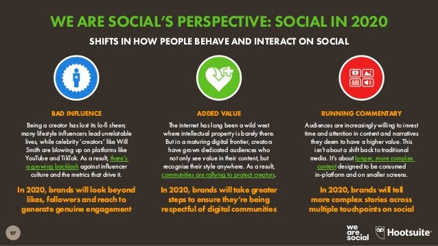 98 Click here to read our full Social Media Trends 2020 report. Though the rise of private messaging is important, public ...