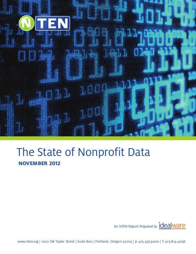 The State of Nonprofit Datanovember 2012                                                              An NTEN Report Prepa...