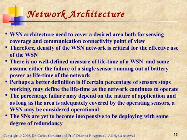 Copyright © 2006, Dr. Carlos Cordeiro and Prof Dharma P Agrawal, All rights reserved 10 Network Architecture  WSN archite...