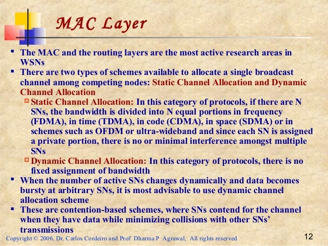 Copyright © 2006, Dr. Carlos Cordeiro and Prof Dharma P Agrawal, All rights reserved 12 MAC Layer  The MAC and the routin...
