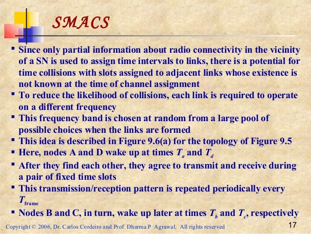 Copyright © 2006, Dr. Carlos Cordeiro and Prof Dharma P Agrawal, All rights reserved 17 SMACS  Since only partial informa...