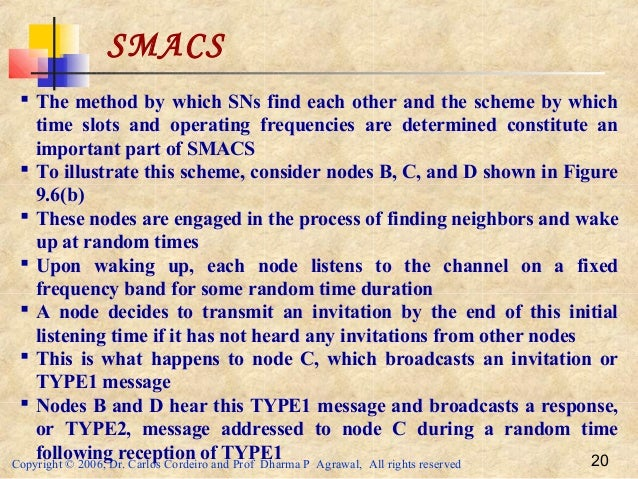 Copyright © 2006, Dr. Carlos Cordeiro and Prof Dharma P Agrawal, All rights reserved 20 SMACS  The method by which SNs fi...