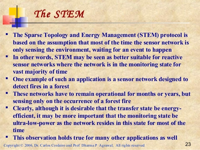 Copyright © 2006, Dr. Carlos Cordeiro and Prof Dharma P Agrawal, All rights reserved 23 The STEM  The Sparse Topology and...